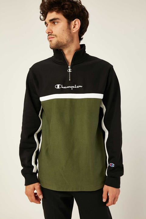 Champion Reverse Weave Crew Quarter Zip Black/Prep Green/White