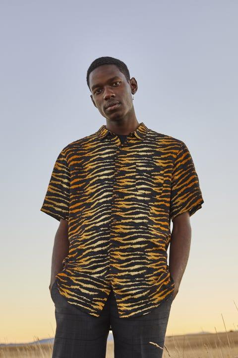 COMMON NEED Party Animal Shirt Tiger Print