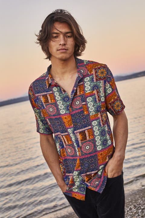 COMMON NEED Persia Party Shirt Orange/Red/Turquoise