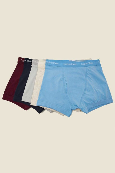 CALVIN KLEIN Cotton Stretch Low Rise Trunk 5 Pack Red/Grey/Blue