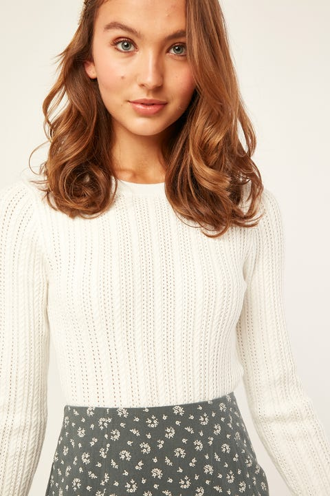 Luck & Trouble Free Falling Knit Top White