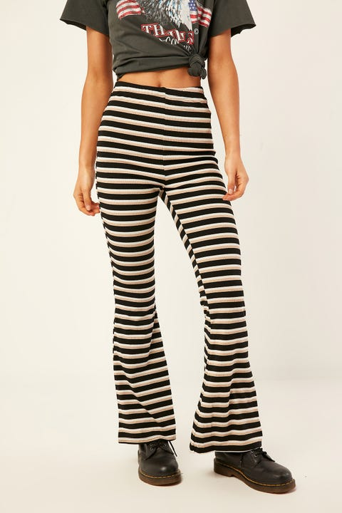 L&T Ribbed Lurex Flares Black
