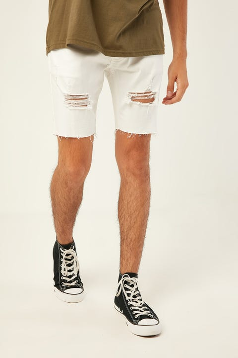KISS CHACEY Biker Denim Short White