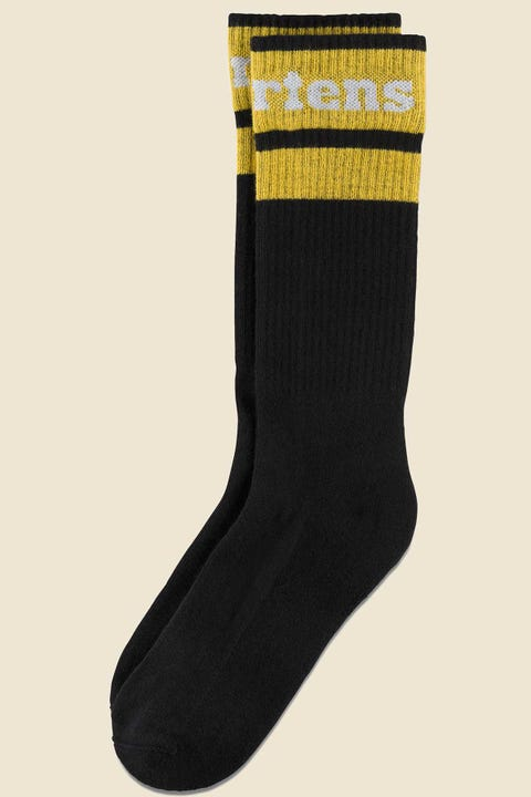 DR MARTENS Athletic Logo Sock Black/Yellow