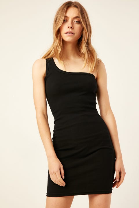 L&T One Shoulder Mini Dress Black