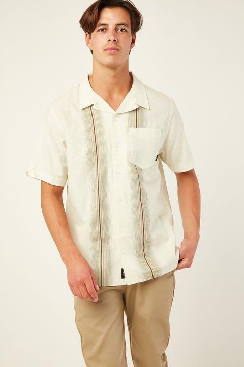 THRILLS Horizon Stripe Bowling Shirt Tiki White