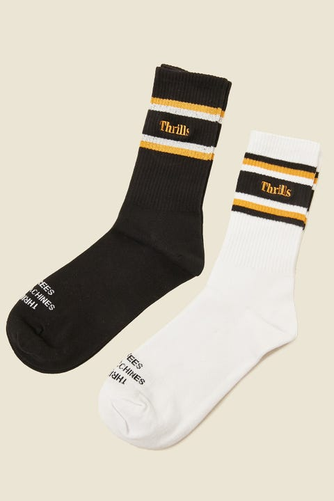 THRILLS Strength Sock 2 Pack Black/Sunlight Yellow