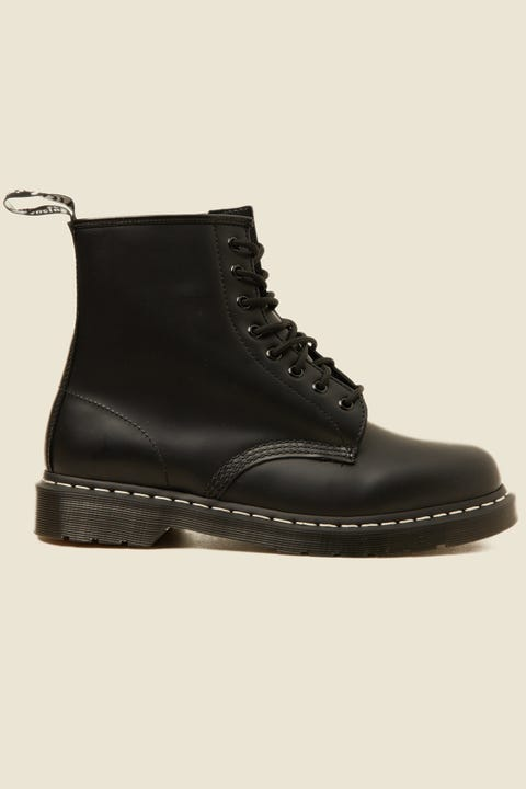 Dr Martens 1460 White Stitch Boot Black Smooth