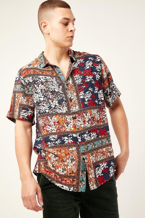 COMMON NEED Maze Party Shirt Red/Orange/White/Navy