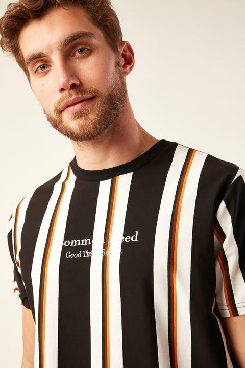 Common Need Pittsburgh Vertical Stripe Tee Black/Orange/Tan/Moss