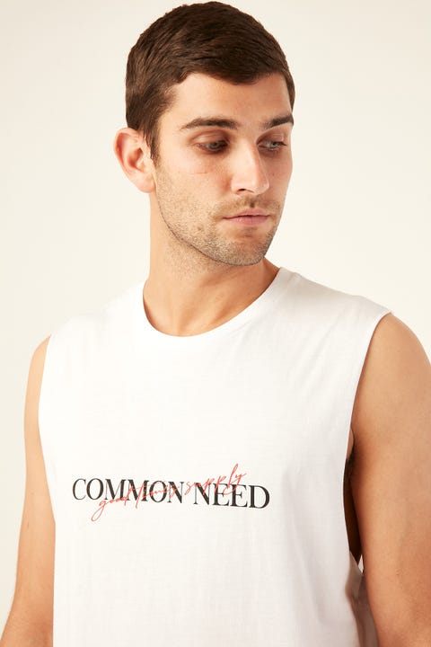 COMMON NEED Script Muscle Tee White