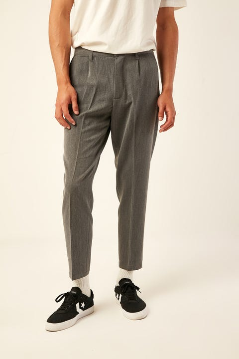 COMMON NEED Soho Pleat Front Crop Pant Grainy Charcoal