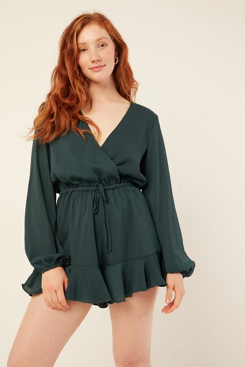 LUCK & TROUBLE Adley Playsuit Teal