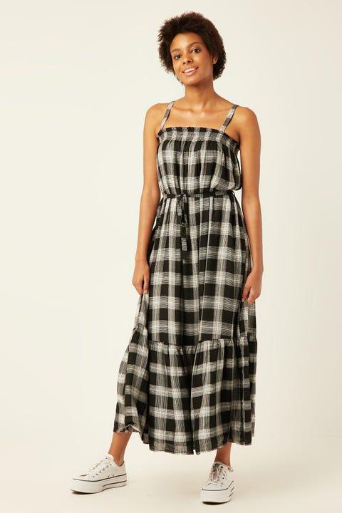LUCK & TROUBLE Amara Maxi Dress Black Print