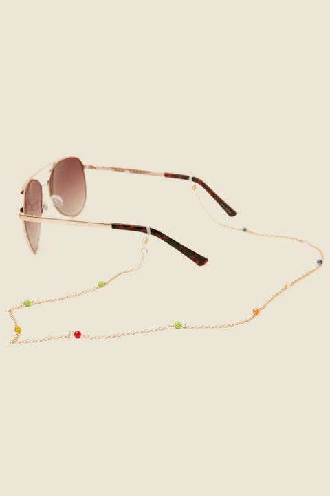 Token Beaded Glasses Chain Gold