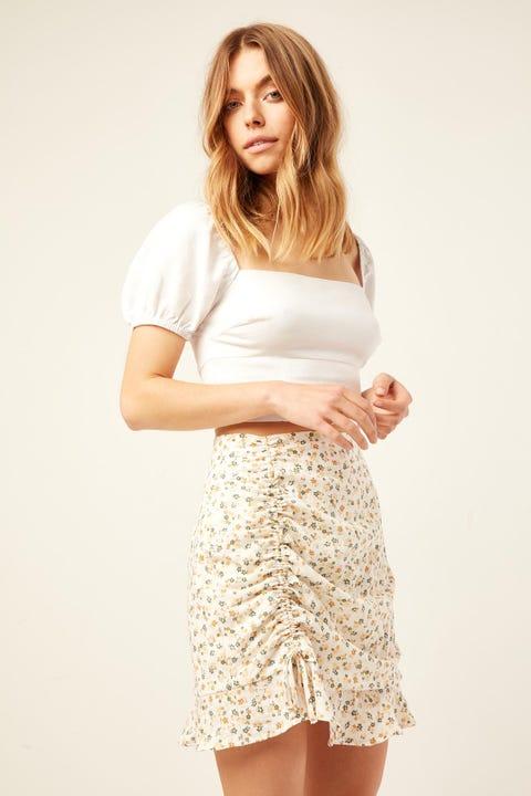 PERFECT STRANGER Amalfi Floral Mini Skirt White Print
