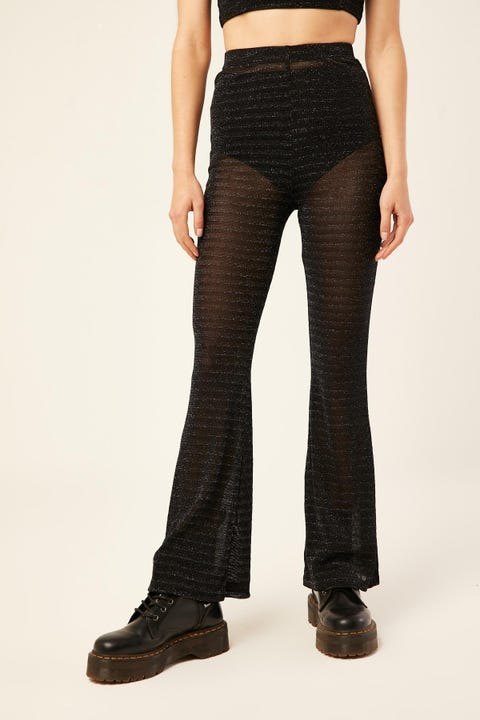 LUCK & TROUBLE Lurex Flares Black