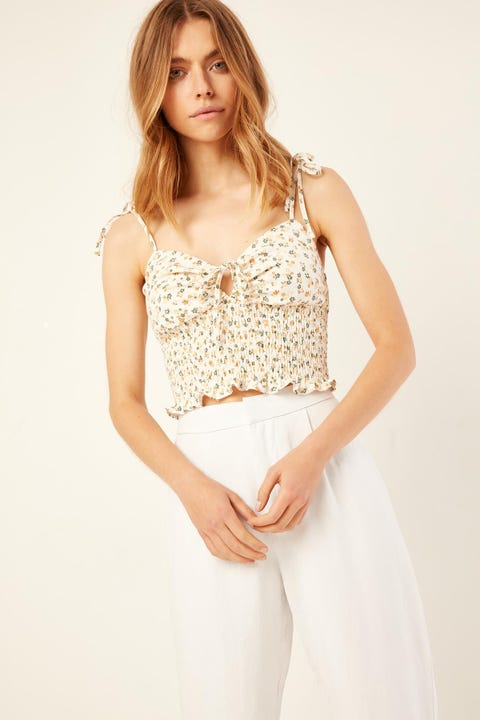 Perfect Stranger Amalfi Floral Top White Print