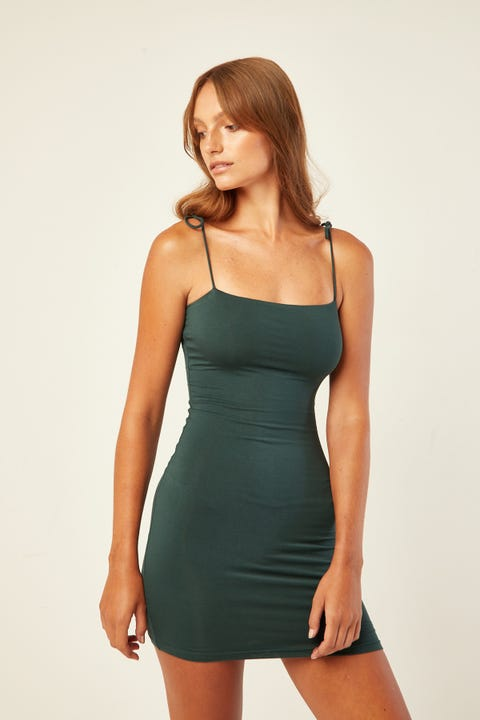L&T Belle Tie Shoulder Mini Dress Green
