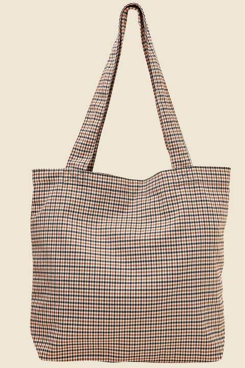 TOKEN Check Tote Bag Brown Print