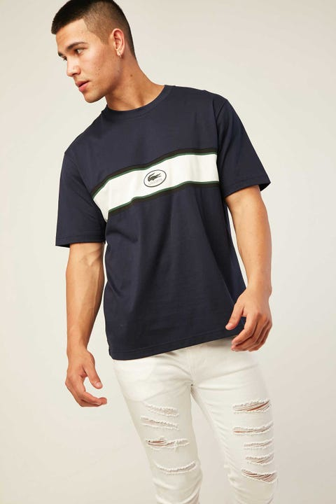 LACOSTE Heritage Heavy Jersey T-Shirt Navy Blue
