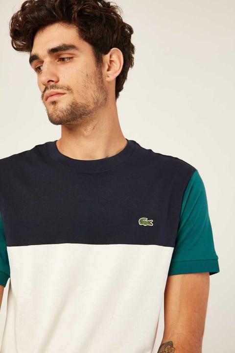 LACOSTE Colour Block T-Shirt Farine/Marine-Pin