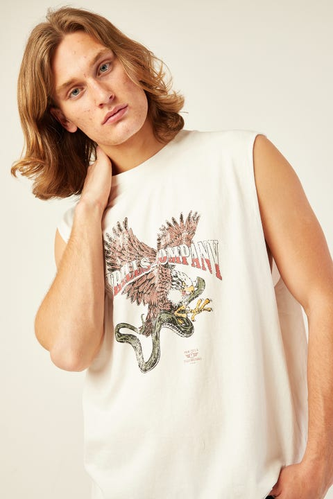 Thrills Eagle VS Snake Merch Fit Muscle Tee Dirty White