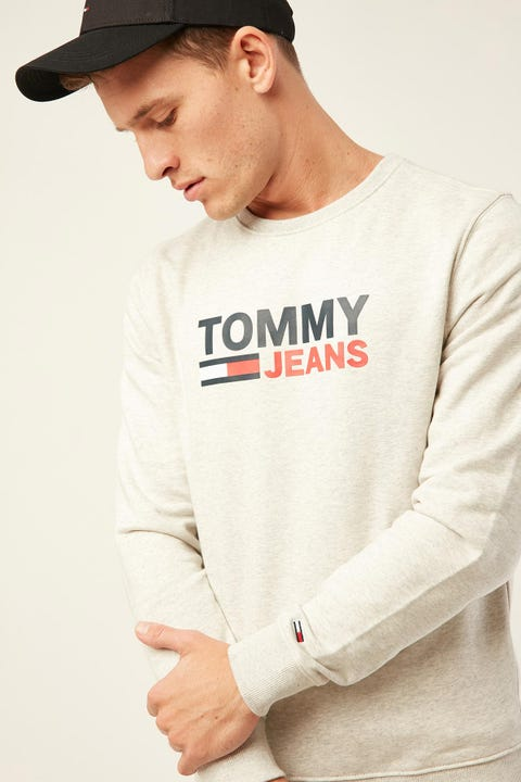 TOMMY JEANS TJM Corp Logo Crew Pale Grey Heather