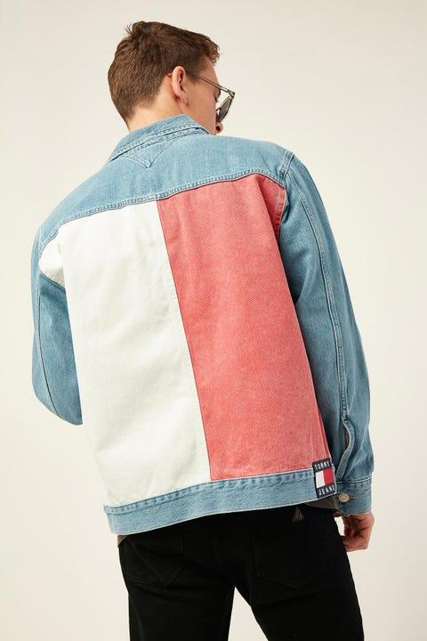 Tommy Jeans Oversize Trucker Jacket TMYFLG Tommy Flag LT BL RIG