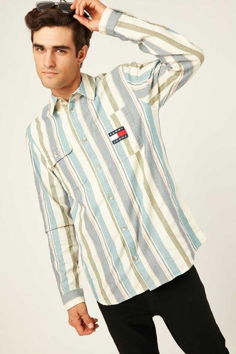TOMMY JEANS TJM Cotton Multi Stripe Shirt Twilight Navy/Multi