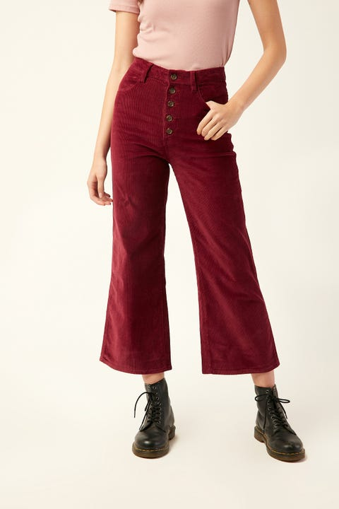WRANGLER Hi Bells Cropped Red Plum