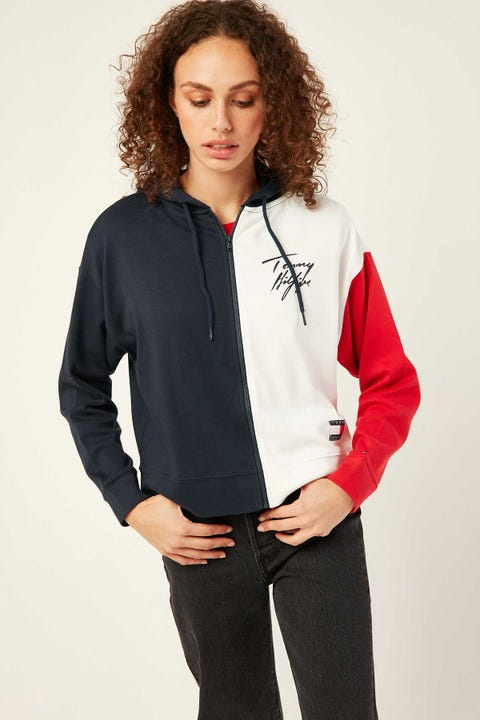 TOMMY JEANS Colorblock Hoodie Navy Blazer
