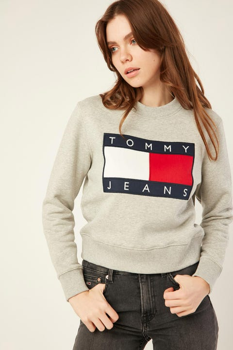 TOMMY JEANS Flag Crew Grey Heather