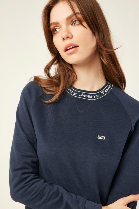 TOMMY JEANS Branded Neck Sweatshirt Twilight Navy