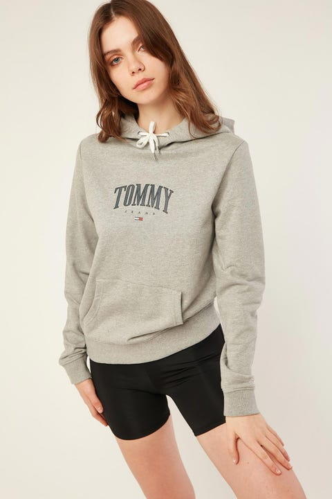 Tommy Jeans Essential Logo Hoodie Grey Heather