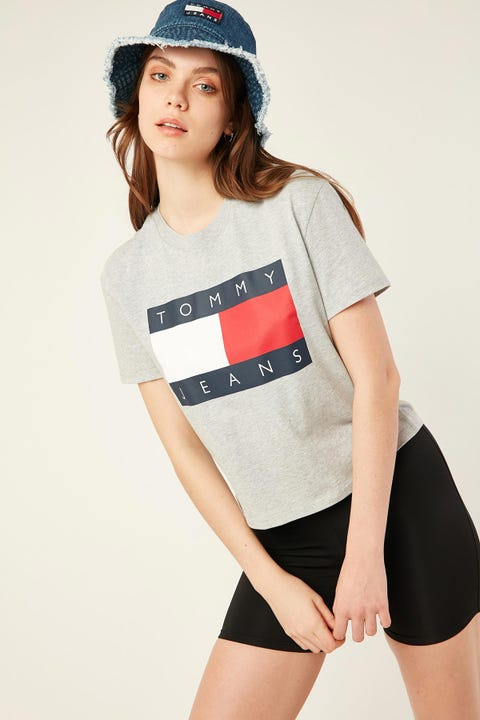 TOMMY JEANS Flag Tee Grey Heather
