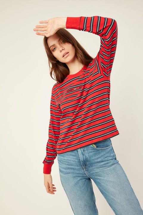 Tommy Jeans Multistripe Logo Longsleeve Crimson Red/ Twilight Navy Stripe