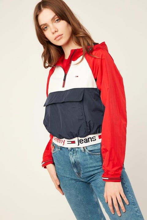 Tommy Jeans Branded Hem Popover Deep Crimson/ Multi