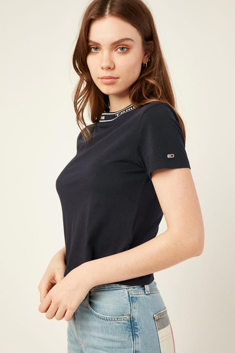 TOMMY JEANS Branded Neck Tee Twilight Navy