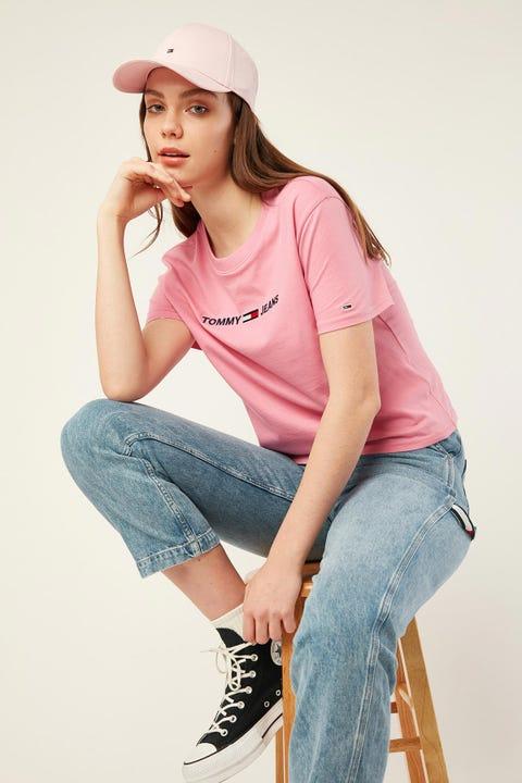 TOMMY JEANS Modern Linear Logo Tee Pink Daisy