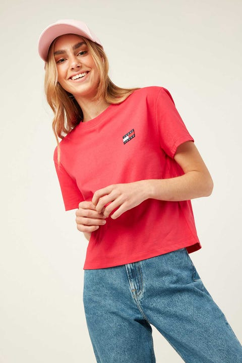 TOMMY JEANS Badge Tee Blush Red