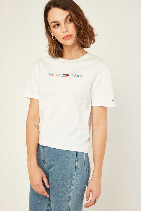 Tommy Jeans Colored Linear Logo Tee White