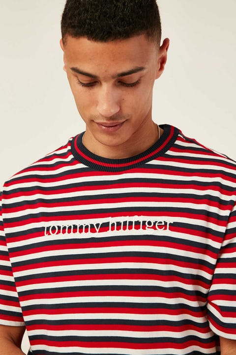 TOMMY JEANS CN SS Tee Logo Stripe Tango Red
