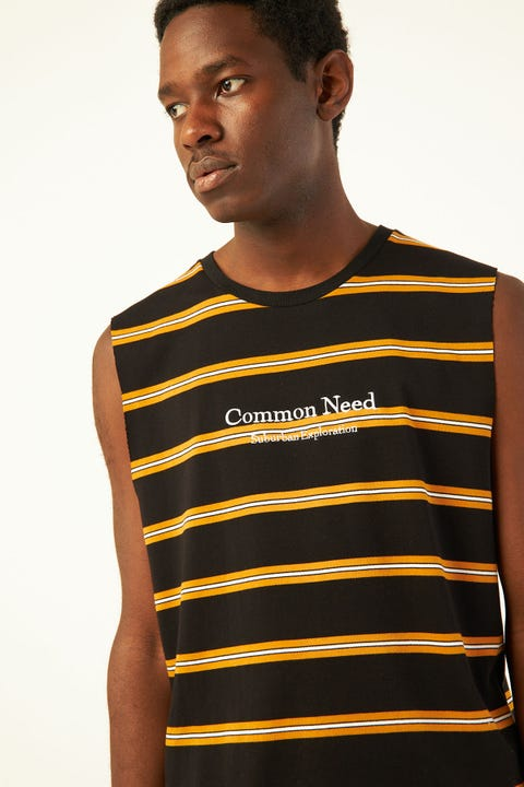 COMMON NEED Suburbs Muscle Tee Black/Orange/White