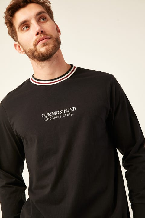 Common Need Radar Ringer Longsleeve Tee Black/Toffee/Off White