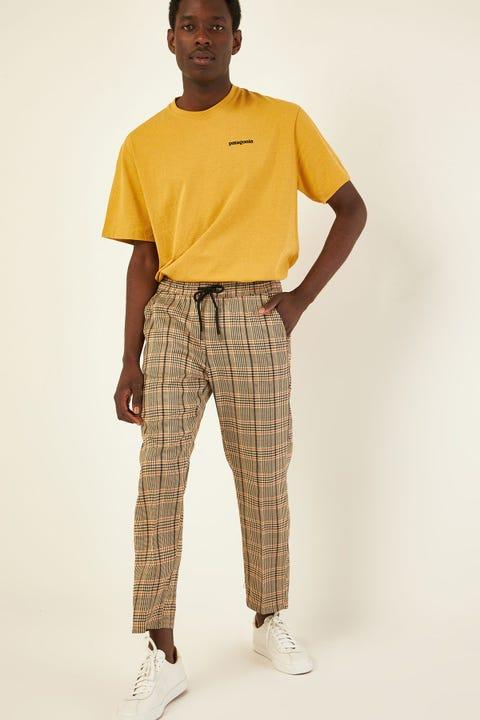 COMMON NEED Shoreditch Elastic Waist Pant Tan/Orange/Brown Check