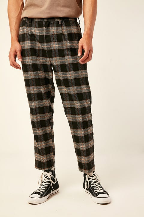COMMON NEED York Pleat Front Crop Pant Black/Tan Check