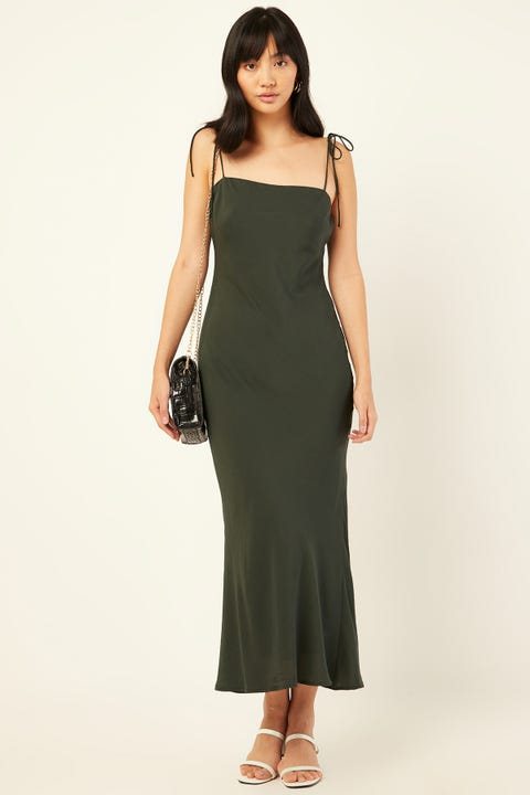 LUCK & TROUBLE Evening Midi Dress Green