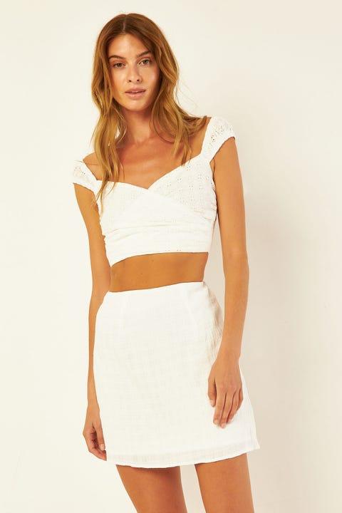 PERFECT STRANGER Malia Mini Skirt White