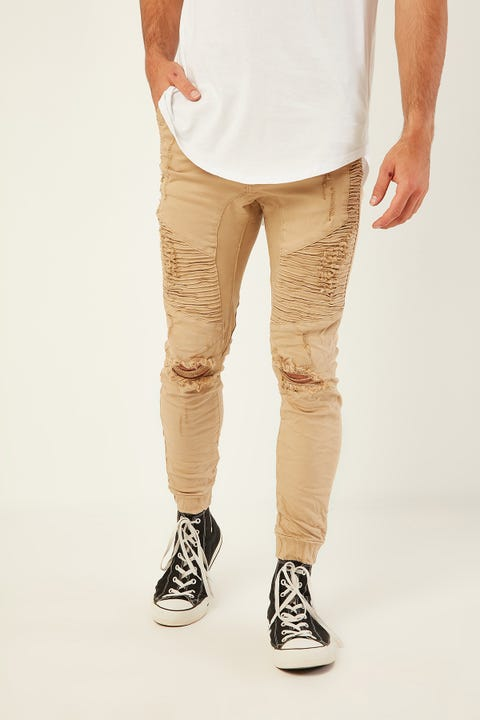 KISS CHACEY Zeppelin Denim Jogger Overdyed Tan